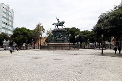 Statue de Dom Pedro I, dans la place de Tiradentes image stock