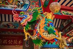 Statue de dragon dans le temple chinois Images libres de droits