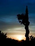 Statue de dragon silhouettée (couleur de son fraîche) image libre de droits