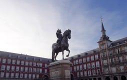 Statue de Felipe III au maire de plaza image stock