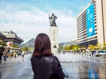 Statue de fontaine d'amiral Yi Sun-Sin et d'eau Photographie stock