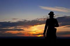 Statue de générateur Warren à Gettysburg au coucher du soleil Photographie stock libre de droits