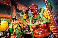 Statue de gardien de démon chez Tin Hau Temple, Yaumatei, Hong Kong Image libre de droits