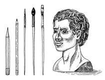 Statue de gypse ou sculpture et brosses dans le style de cru r r illustration libre de droits
