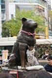 Statue de Hashiko avec deux chats dans Shibuya photos stock