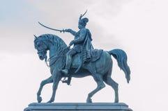 Statue de Jelacic d'interdiction à Zagreb photos stock