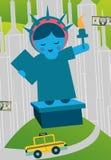 Statue de l'Amérique d'argent et de taxi New York du dollar de liberté illustration stock