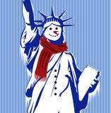 Statue de la liberté avec le froid et l'écharpe Photographie stock