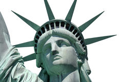 Statue de la liberté d'isolement étroitement vers le haut Images stock