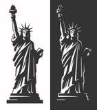 Statue de la liberté et du coucher du soleil de New York City illustration de vecteur