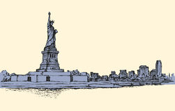 Statue de la liberté et du coucher du soleil de New York City Croquis de vecteur illustration de vecteur