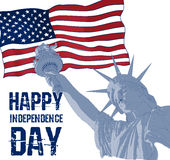 Statue de la liberté sur un fond de drapeau américain Conception pour la célébration Etats-Unis du quatrième juillet symbole amér Images libres de droits