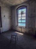 Statue de la liberté, fenêtre d'Ellis Island Photos stock