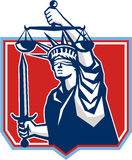 Statue de Liberty Wielding Sword Scales Justice Images libres de droits