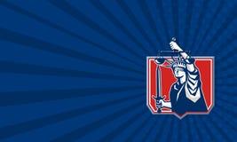 Statue de Liberty Wielding Sword Scales Justice Photographie stock