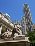 Statue de lion de la bibliothèque publique de New York Images stock