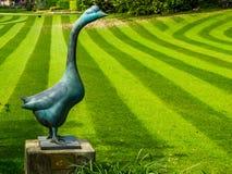 Statue de marbre d'oie avec une pelouse fauchée fraîche d'herbe avec des rayures, jardins luxueux modernes image stock