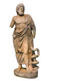 Statue de marbre d'un dieu Asclepius du grec ancien Photographie stock