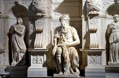 Statue de marbre de Moïse par Michaël Angelo image libre de droits