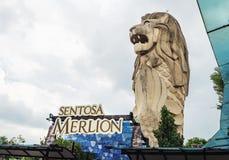 Statue de Merlion sur l'île de Sentosa, Singapour Images stock