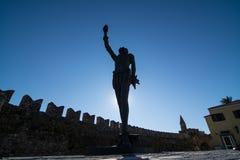 Statue de Miguel De Cervantes dans Nafpaktos, Grèce occidentale Photographie stock libre de droits