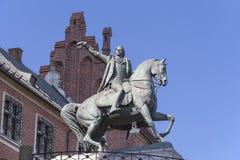 Statue de monument de Tadeusz Kosciuszko sur le château royal de Wawel, Cracovie, Polan Photographie stock libre de droits