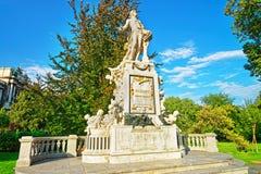 Statue de Mozart en parc de Burggarten de Vienne Images libres de droits