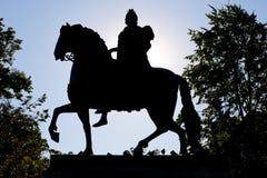 Statue de Petr First de coucher du soleil dans Sankt Pétersbourg Image stock