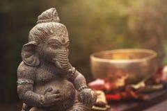 Statue de pierre de divinité de Ganesha Photographie stock