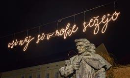 Statue de Preseren dans Kranj, Slovénie, l'Europe photographie stock