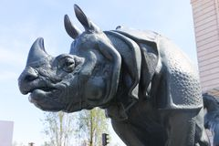 Statue de rhinocéros - Paris Photos libres de droits