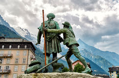 The Statue of de Saussure, Chamonix Royalty Free Stock Photography