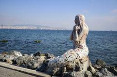 Statue de sirène sur l'île de Buyukada Image libre de droits