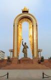 Statue de Somoni au centre de Dushanbe, le Tadjikistan Image libre de droits