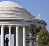 Histoire verticale--Jefferson et monuments de Washington Photographie stock libre de droits