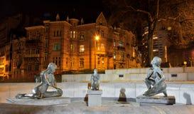 Statue de trois femmes nues, fontaine Images libres de droits