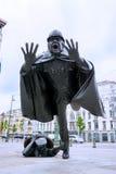 Statue De Vaartkapoen在布鲁塞尔,汤姆Frantzen 1985年 库存图片