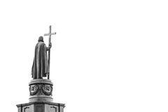 Statue de Vladimir The Great à Kiev, Ukraine, vue arrière dans le blac photographie stock libre de droits
