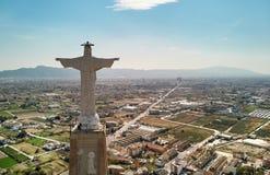 Statue de vue aérienne du Christ sur le château Murcie, Espagne de Monteagudo images libres de droits