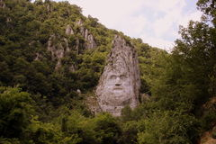 Statue Of Decebalus. The Statue of Dacian king Decebalus is a 40-m high statue that is the tallest rock sculpture in Europe. It is located on the Danube's rocky Stock Images