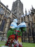 A statue of a decorated knight outside Lincoln Cathedral , June 2017 Royalty Free Stock Image