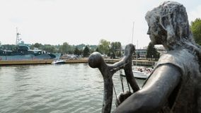 Statue decorating vintage ship leaving port for open sea, entertaining tourists. Stock footage stock footage