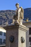 Statue dedicated to History.19th century. Tirano. Italy. Statue dedicated to History. 19th century. In Tirano, Italy royalty free stock photography