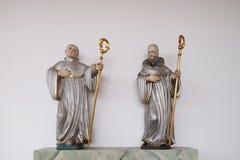 Statue dei san nella chiesa di St Bartholomew in Leutershausen, Germania fotografia stock libera da diritti