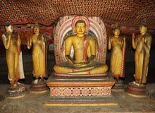 Statue del Buddha alle caverne di Dambulla, Sri Lanka Fotografia Stock Libera da Diritti