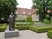 Statue in Delft. The bronze statue of Willem van Oranje in the garden of the Prinsenhof in Delft Stock Image