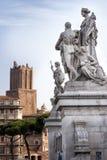 Statue dell'altare della patria e della torre delle milizie Fotografia Stock Libera da Diritti