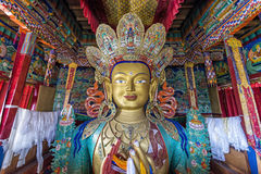 Statue depicting Maitreya at the Thiksey Monastery, Ladakh Stock Images