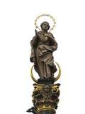 Statue der Gebetsfrau mit goldenem Strahlenkranz Stockbilder