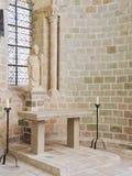 Statue in der Kirche-Abtei von Mont Saint Michel Stockfotografie